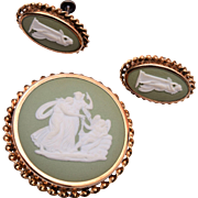 Sterling Wedgwood Made in England Brooch and Earring Set