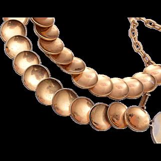 Gold Disk Bracelet and Necklace Set