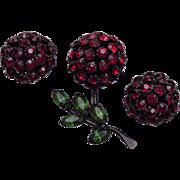 Warner Red Rhinestone Flower and Earring Set