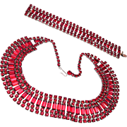 Red Rhinestone Bracelet and Necklace