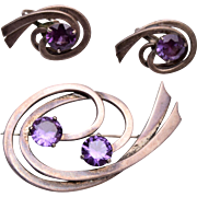 Miguel Melendez Sterling and Amethyst Brooch and Earring Set