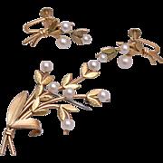 Krementz Real Pearl Brooch and Earring Set