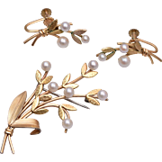 Krementz Real Pearl Brooch and Earring Set