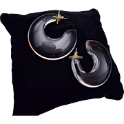 Clear Lucite Hoop Pierced Earrings