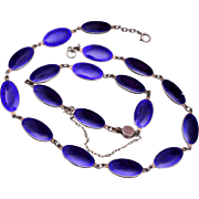 Sterling and Blue Enamel Necklace and Bracelet Set