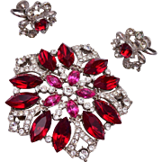Eisenberg Ice Brooch and Earring Set