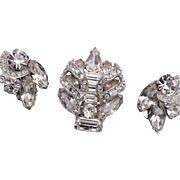 Eisenberg Rhinestone Brooch and Earring Set