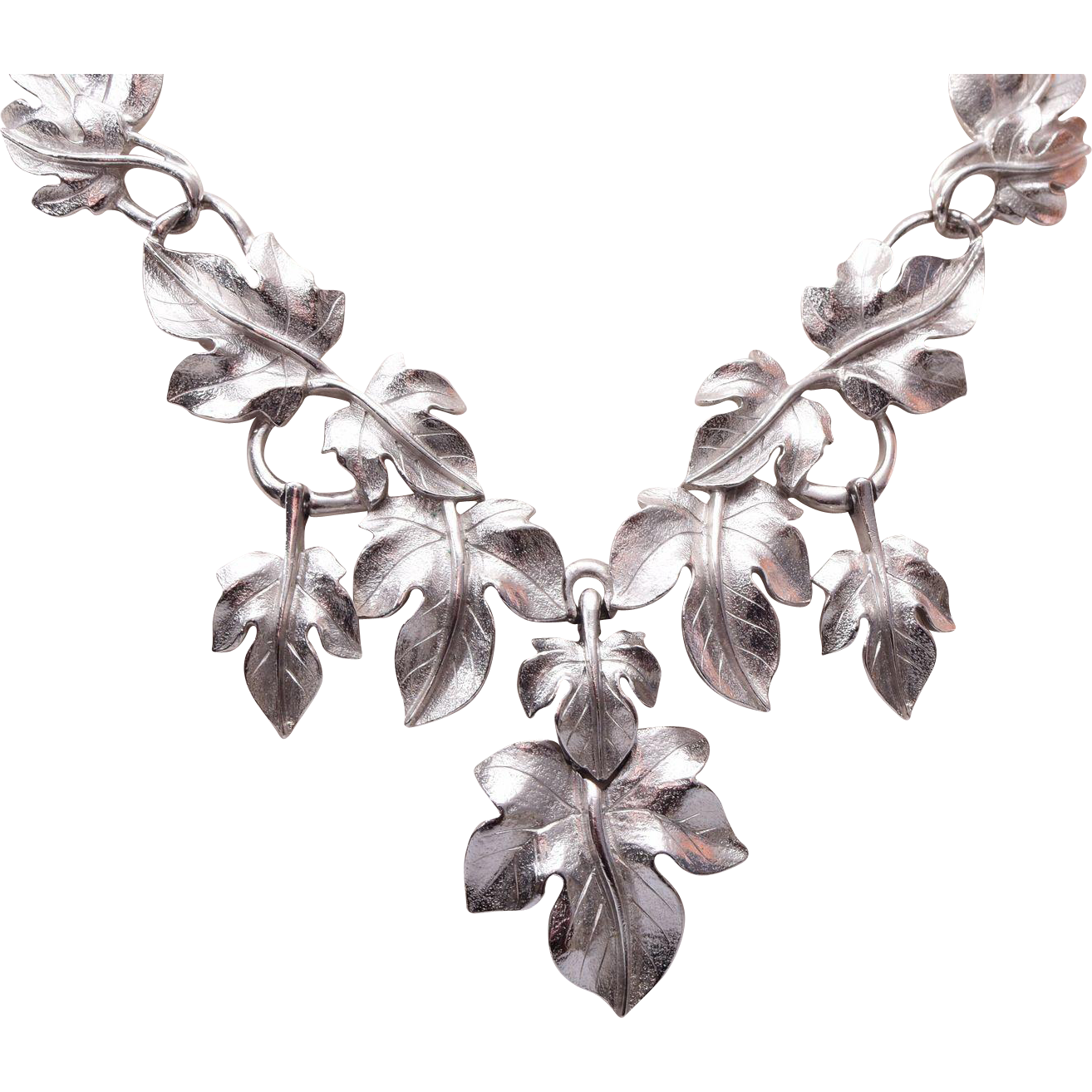 1970's Trifari Kunio Matsumoto Silver Leaf Necklace