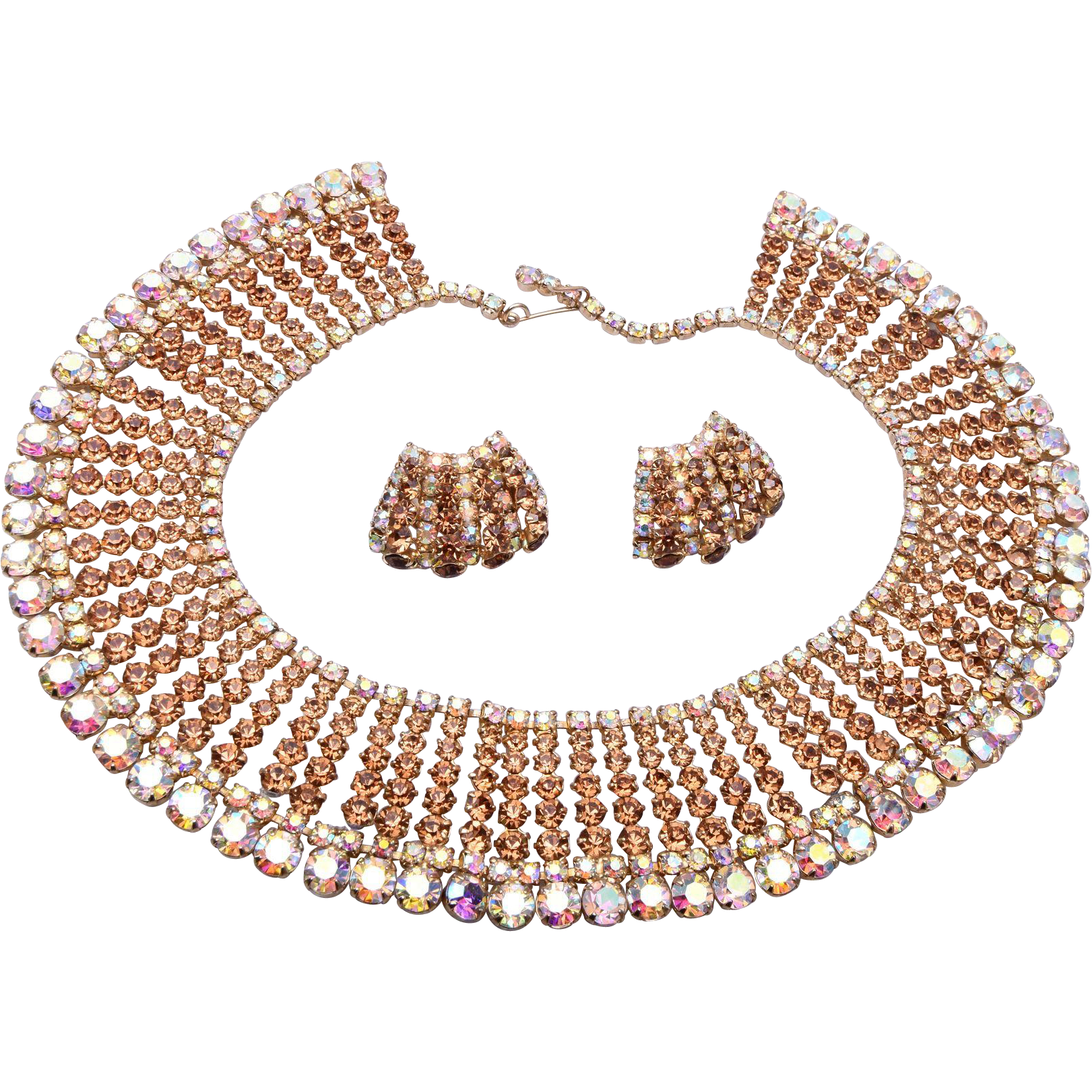 Topaz and AB Rhinestone Collar Necklace and Earring Set