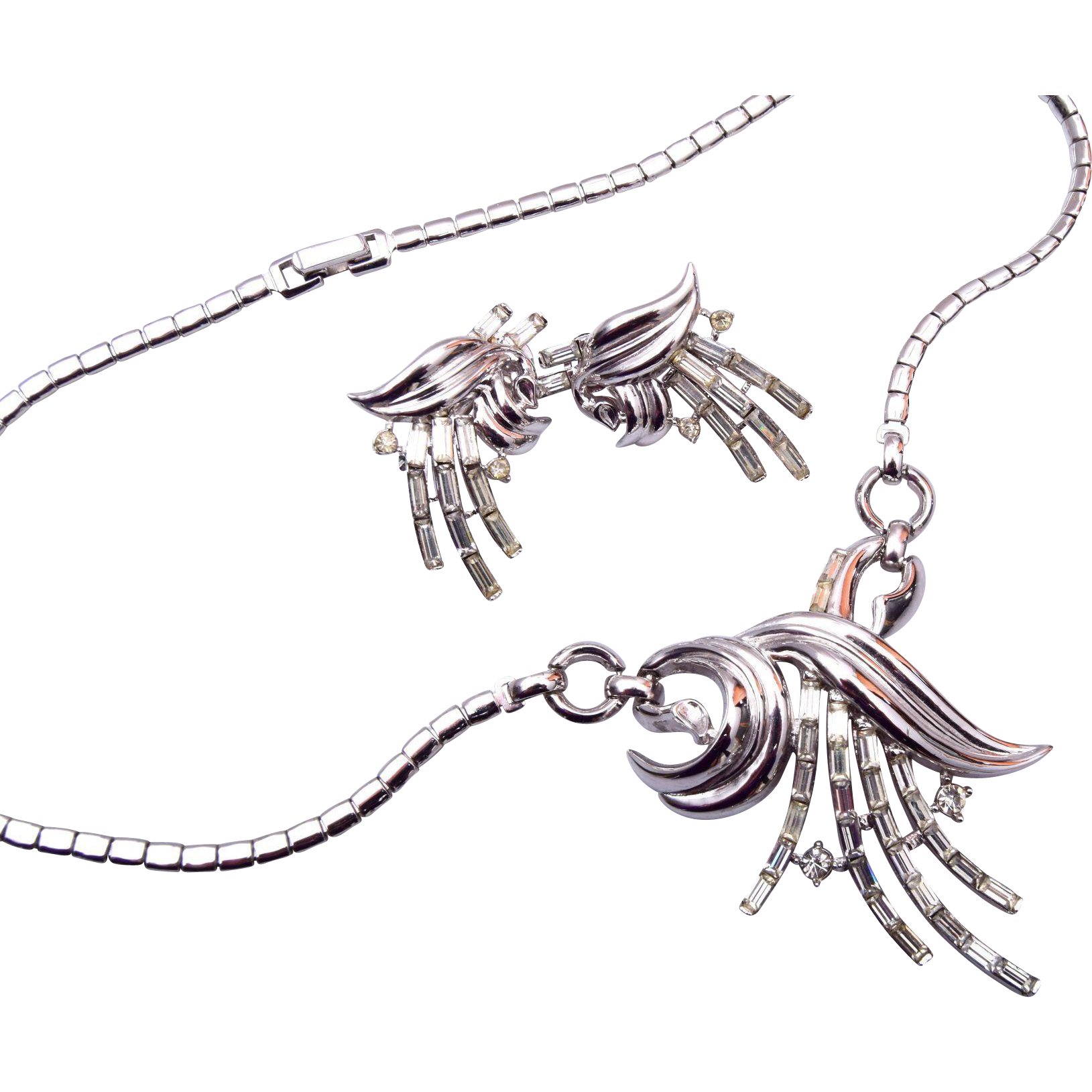Pre 1955 Trifari Silver Necklace and Earring Set