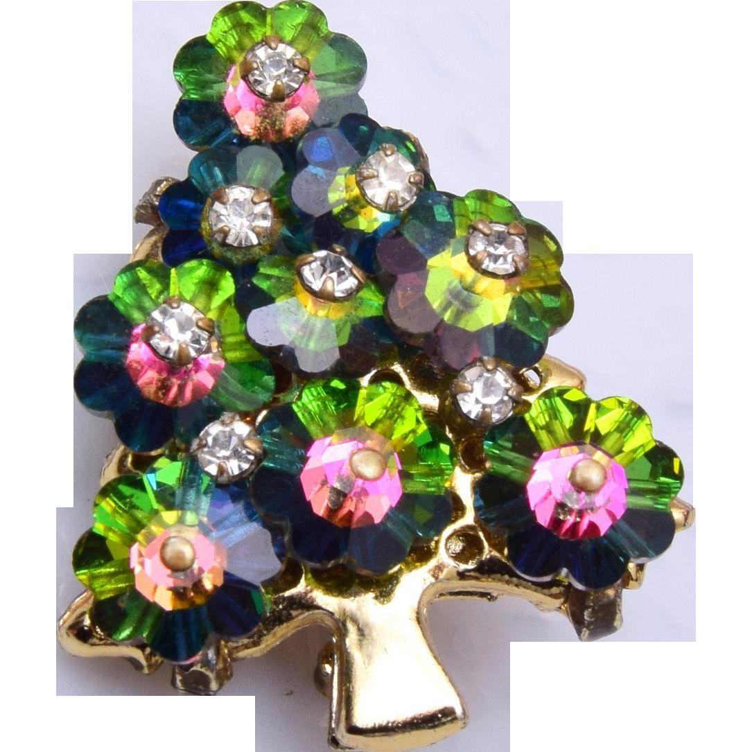 Rivoli crystal christmas tree brooch from rubylane sold on ruby lane