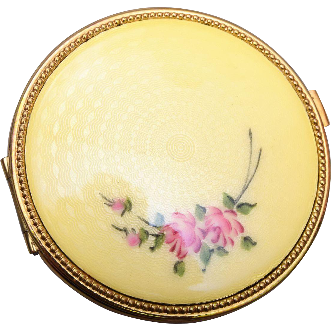 Yellow Guilloche Enamel Compact
