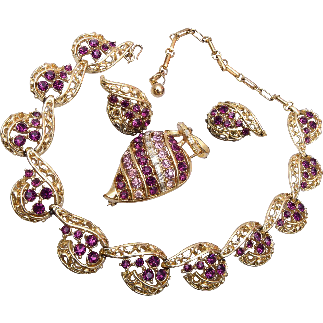 Coro Purple Necklace, Brooch and Earring Set