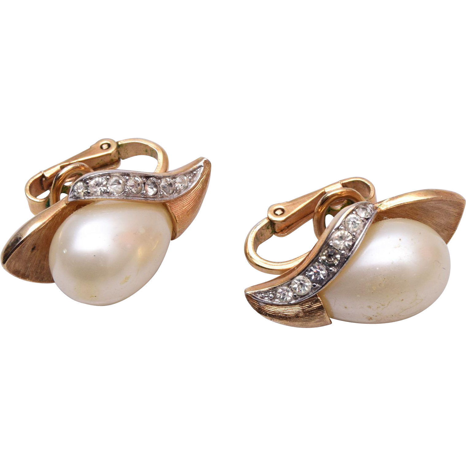 Pre 1955 Trifari Faux Pearl Earrings