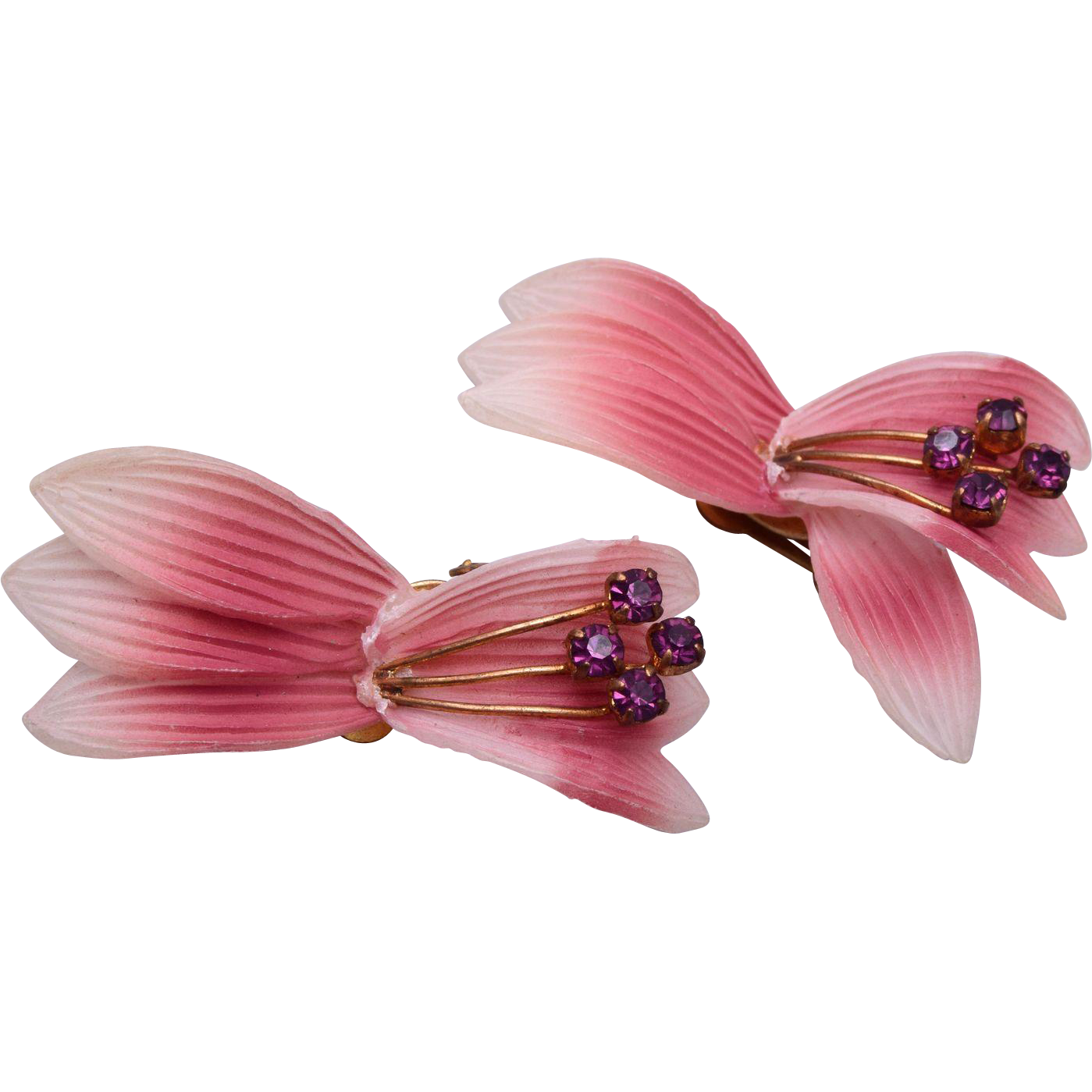 Plastic Orchid and Purple Rhinestone Earrings