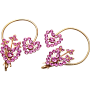 Around the Ear Pink Rhinestone Earrings