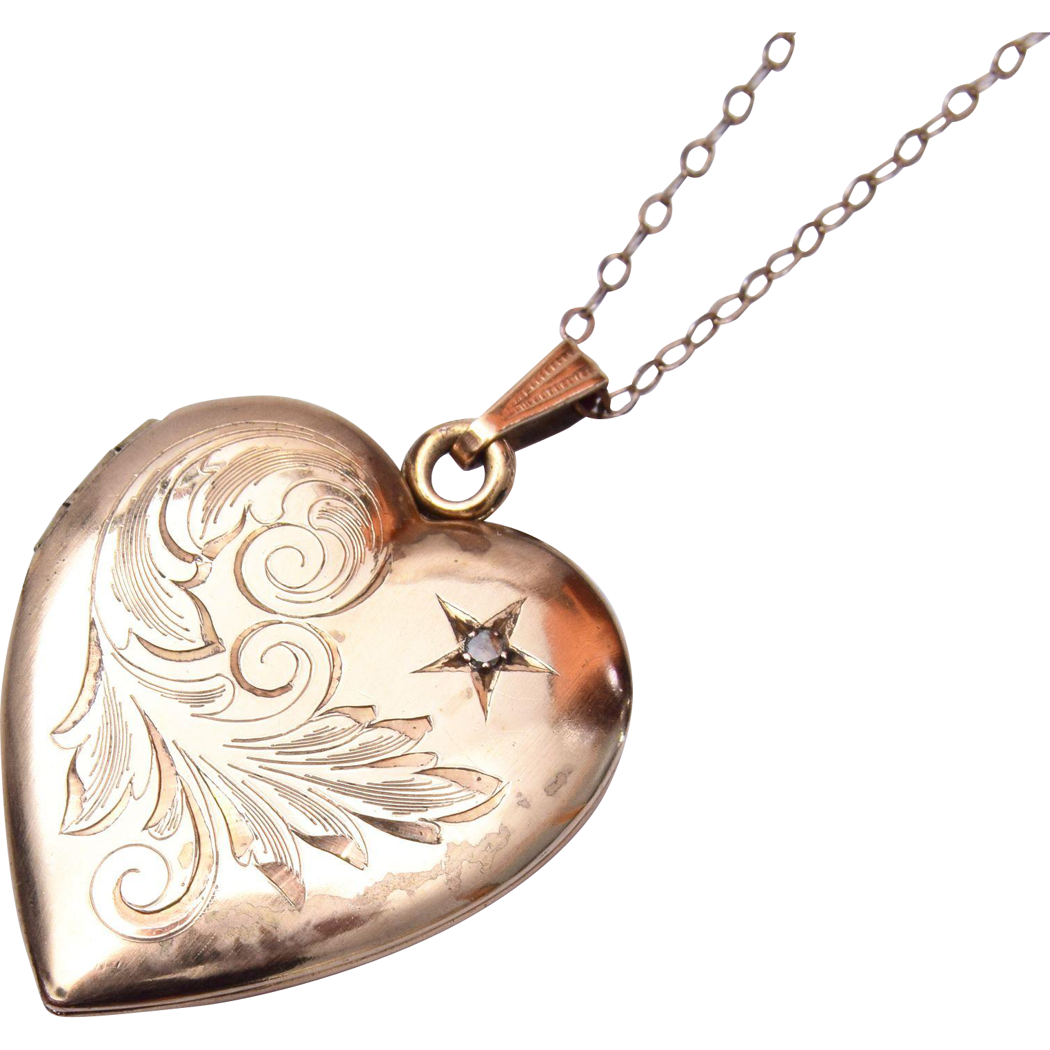 Gold Filled Heart Shaped Locket With Rhinestone
