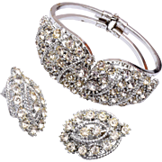 Hinged Rhinestone Bracelet and Matching Earrings
