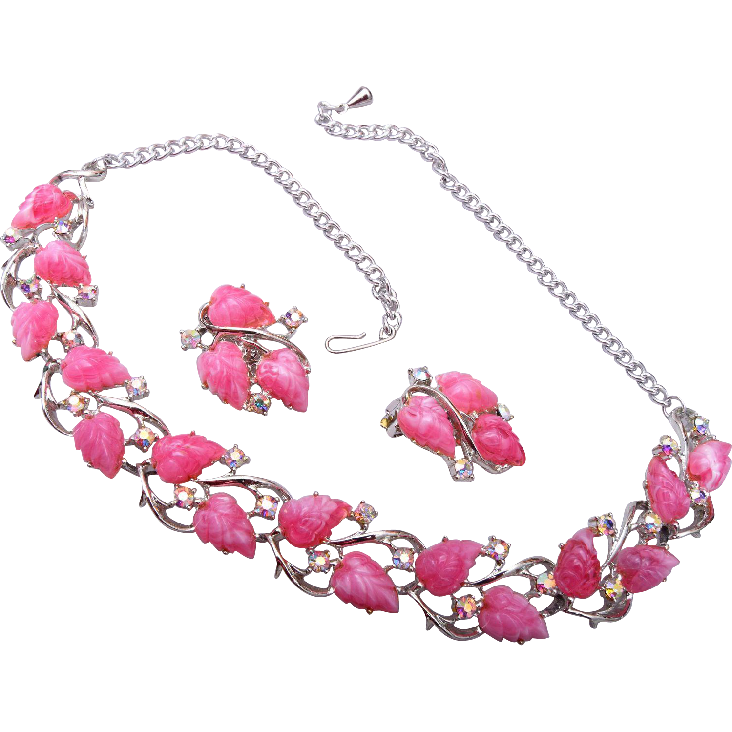 Pink Molded Plastic Necklace and Earring Set