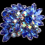 Weiss Blue Rhinestone Brooch