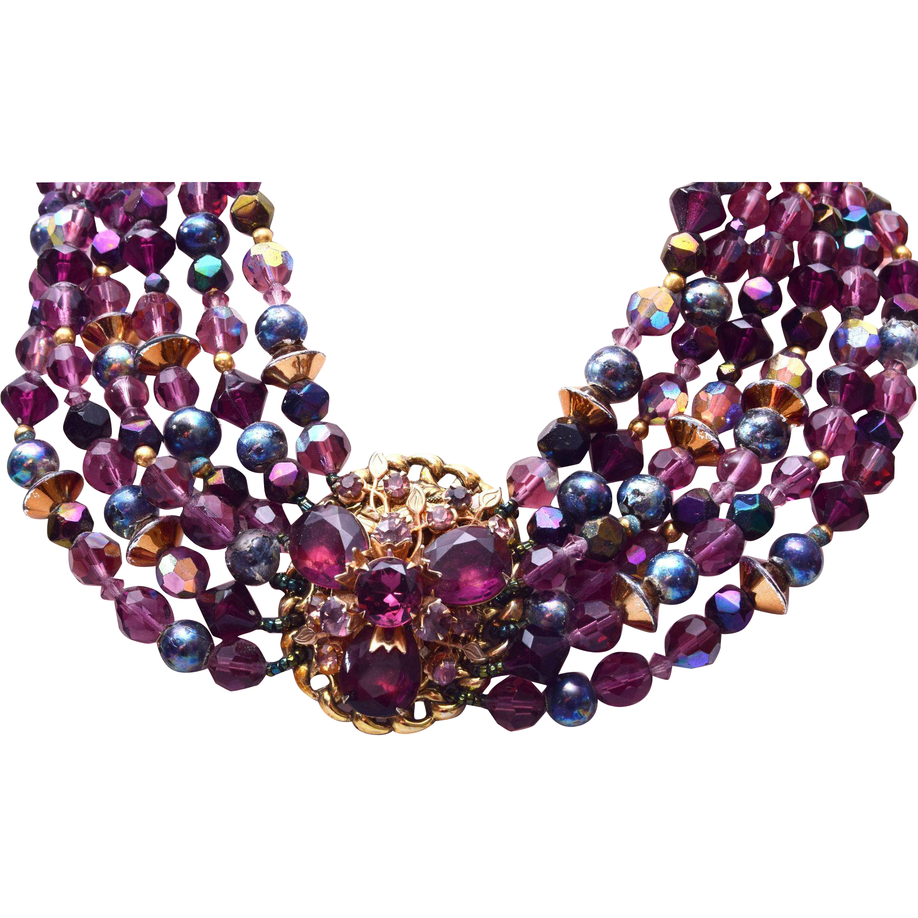 Purple, Blue and Gold Filled Beaded Necklace
