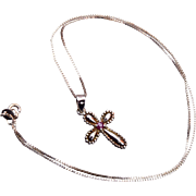 .925 Sterling Cross Pendant with Ruby