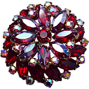 Arne Jewelry Red Rhinestone Brooch