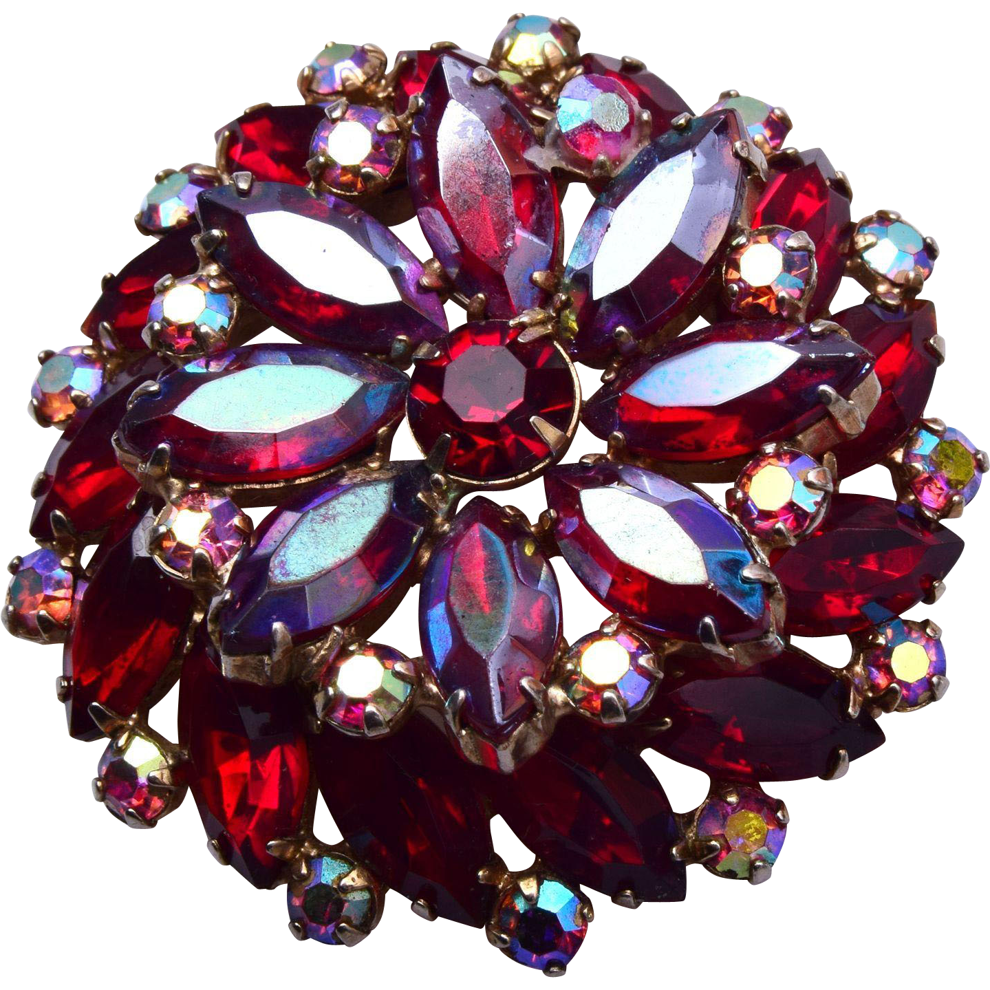 Arne Jewelry Red Rhinestone Brooch
