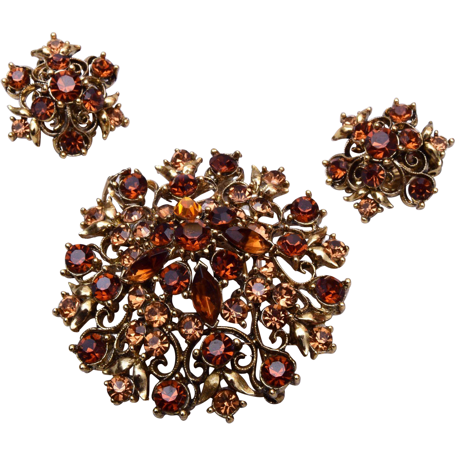 Lisner Brown and Topaz Colored Brooch and Earring Set