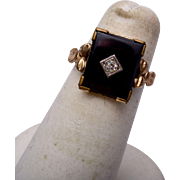 10kt Gold Filled Onyx Ring Size 5