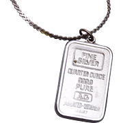 One Quarter Ounce Pure Silver 999.9 Bar Necklace