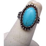 Sterling and Turquoise Ring Size 5-1/4