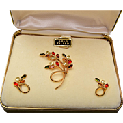 Dansal Gold Filled and Rhinestone Brooch and Earring Set