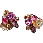Pink Rhinestone, Foil and Givre' Earrings