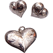 Sterling Silver Etched Heart Pendant and Pierced Earrings Set
