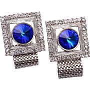 Blue Rivoli Crystal Cuff Links