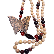 Leopard Skin Jasper Carved Butterfly Necklace