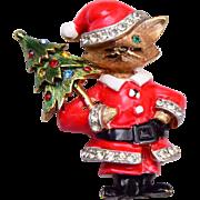 JJ Santa Cat With Christmas Tree Brooch