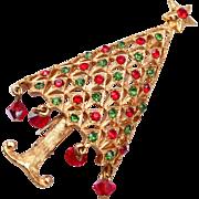 Mylu Dangling Crystal Christmas Tree Brooch