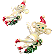 2 Figural Christmas Mice Brooches