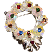 Crystal Christmas Wreath Brooch