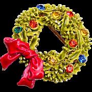 ART Enameled Christmas Wreath Brooch