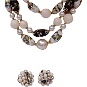 3 Strand Foiled Art Glass Beaded Necklace and Earring Set