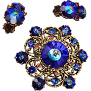 Weiss Blue Rivoli Crystal Brooch and Earring Set