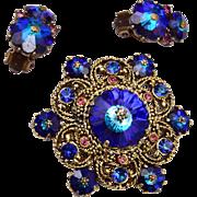 Weiss Blue Rivoli Crystal Brooch and Earring Set