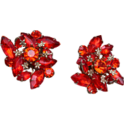 Judy Lee Orange Rhinestone Earrings