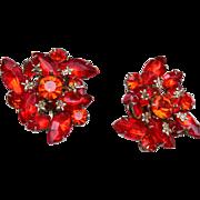 Judy Lee Orange Rhinestone Earrings