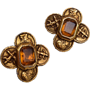 Coro Bezel Set Topaz Rhinestone Earrings