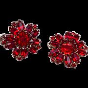 Weiss Red Rhinestone Earrings