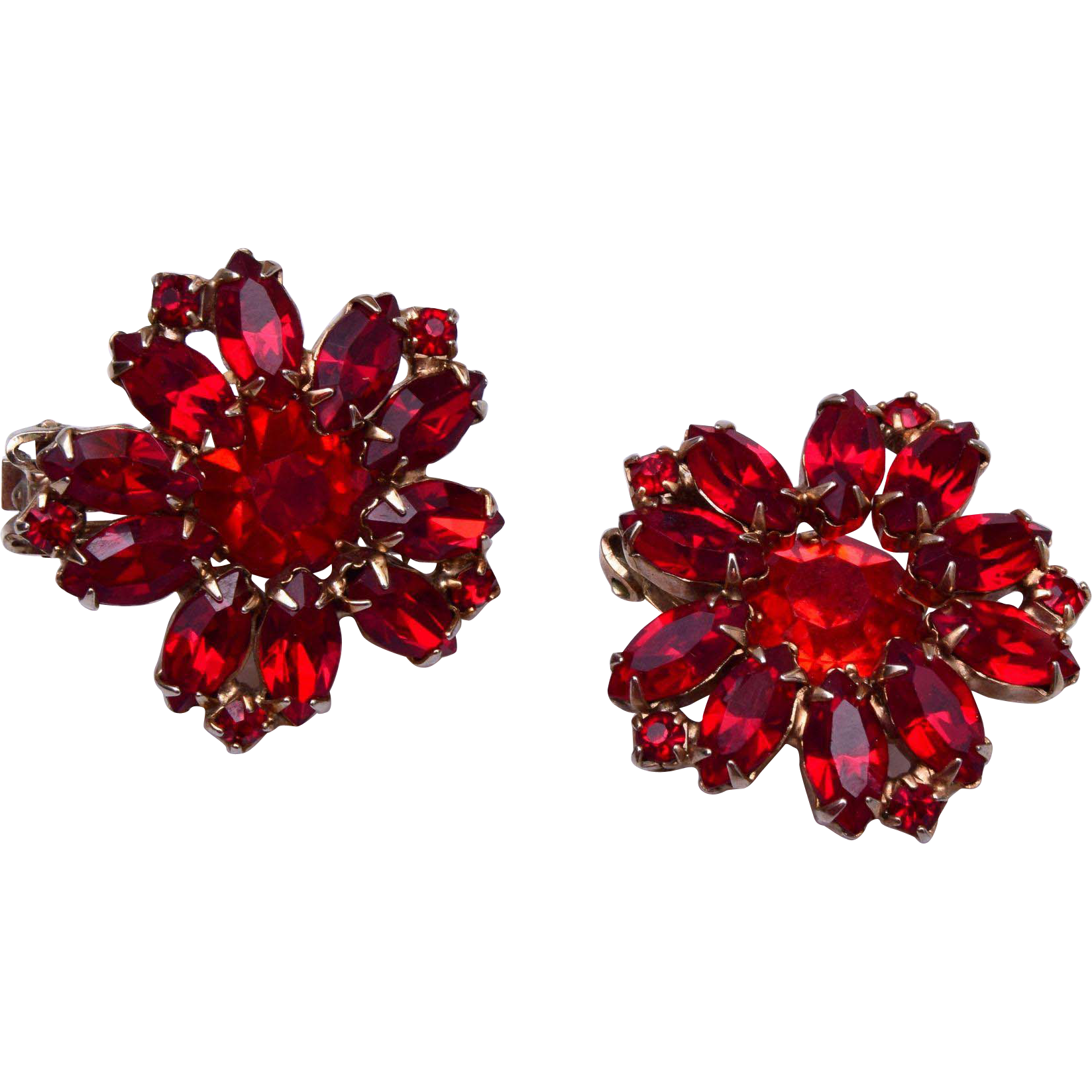 Weiss Red Rhinestone Earrings